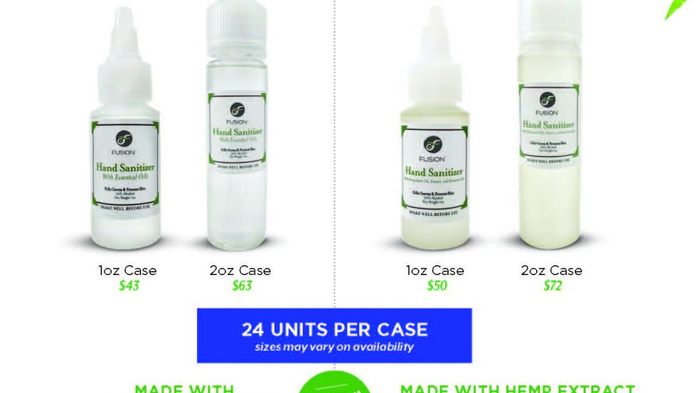 Hand Sanitizer available in 1 and 2 oz bottles in 24 count cases.  Ready to ship