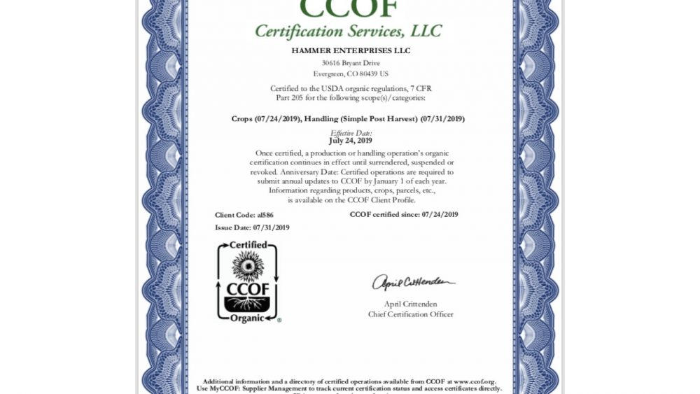 CO2-Extracted USDA-Certified Organic Raw Oil