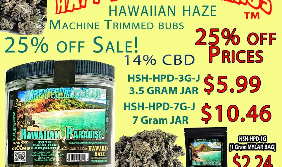 Happy Shaman CBD Trimmed Flower in Jars 25% off Sale!