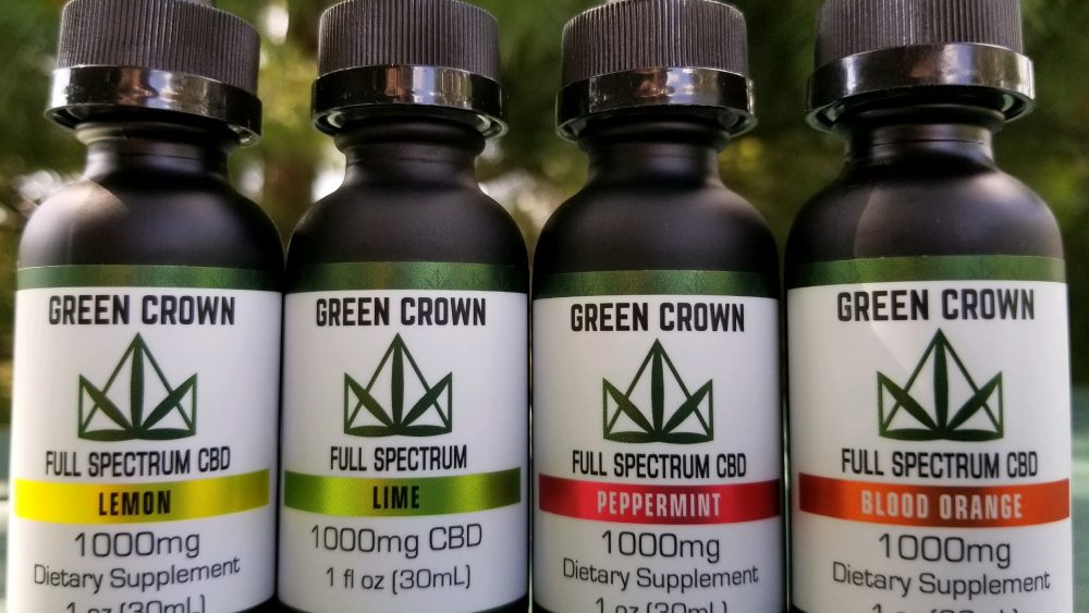 Full Spectrum flavored CBD tincture available in 500mg and 1000mg CBD levels 30ml bottles